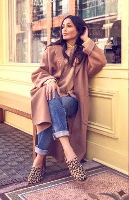 Freida Pinto wearing Pure Viola in leopard print